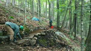 Retaining walls stabilize the trail's tread.
